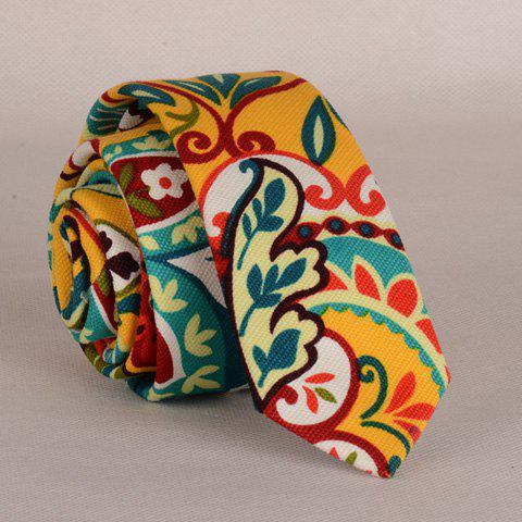 Latest Stylish Colorful Folk Hand Painted Flower and Leaf Pattern Neck Tie For Men