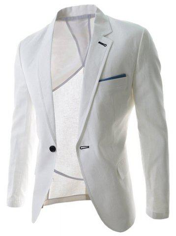 Hot Trendy Lapel One Button Sutures Design Slimming Long Sleeve Polyester Blazer For Men WHITE M