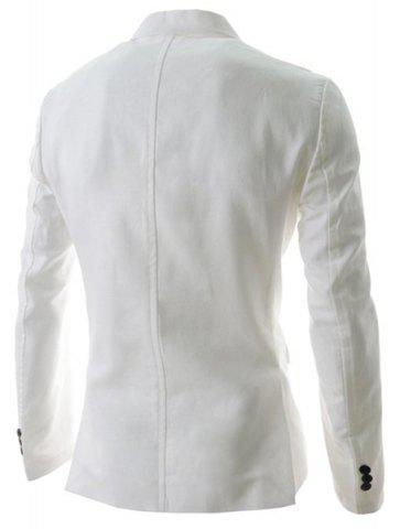 Fancy Trendy Lapel One Button Sutures Design Slimming Long Sleeve Polyester Blazer For Men - XL WHITE Mobile