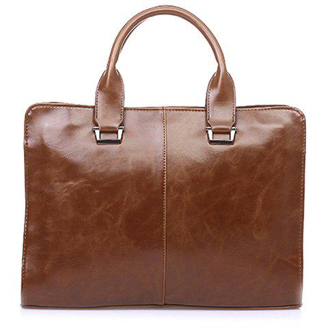 Unique Career Solid Color and Zipper Design Men's Briefcase