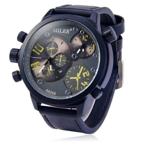 Outfits Miler A8269 Double Movt Date Display Male Quartz Watch with Decorative Sub-dials Leather Strap