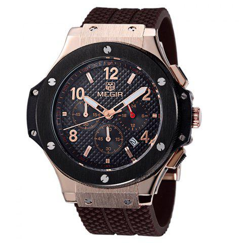 New MEGIR 3002 Male Japan Quartz Watch with Date Function Silicone Band Luminous Pointer 30M Water Resistance