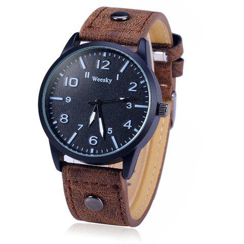 Buy Weesky 1203G Arabic Numerals Scales Male Quartz Watch with Leather Band