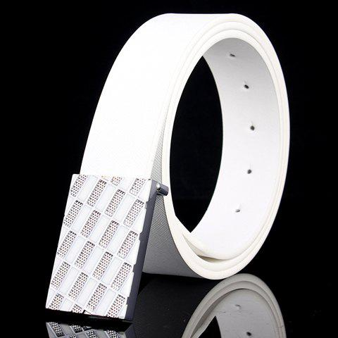 New Fashionable Rhombic Buckle and Faux Leather Belt For Men WHITE