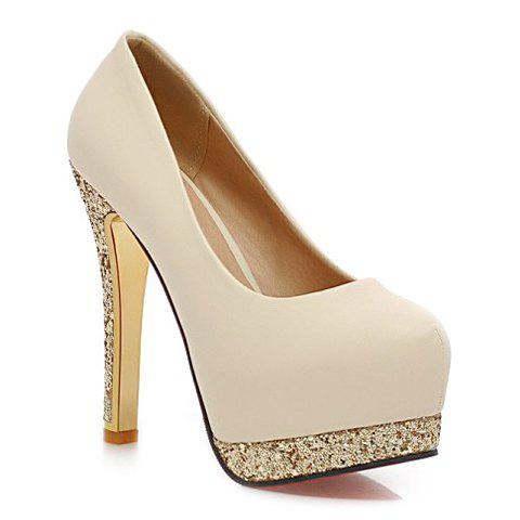 Sale Stylish Style Round Toe and Sequined Design Women's Pumps