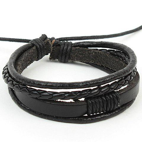 Punk Layered Faux Leather Bracelet - Black