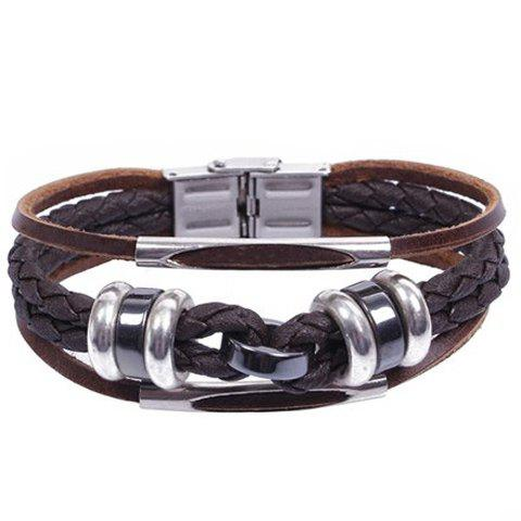 Trendy Braided Faux Leather Layered Bracelet