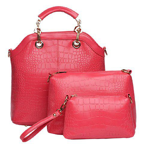 Fashion Style Crocodile Print and Metallic Design Women's Tote Bag - Rose