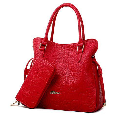 Outfit Graceful Embossing and Floral Print Design Women's Tote Bag