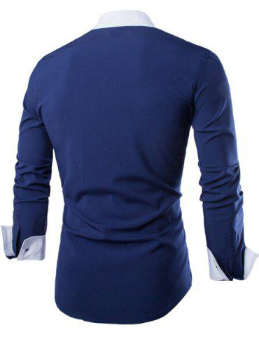 Chic Vogue Shirt Collar Simple Color Block Splicing Slimming Long Sleeve Cotton Blend Shirt For Men - M CADETBLUE Mobile