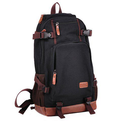 New Trendy Buckles and Color Block Design Men's Backpack - BLACK  Mobile