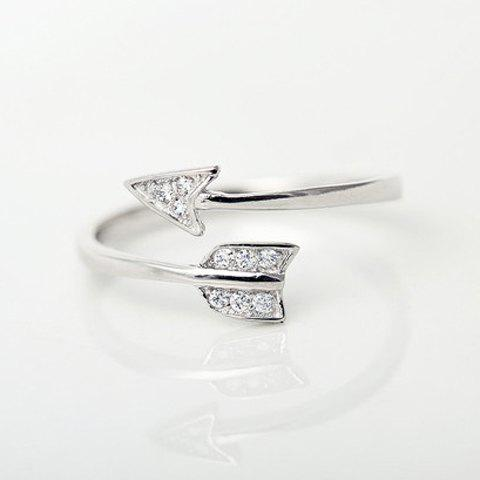 Chic Rhinestone Arrow Cuff Ring