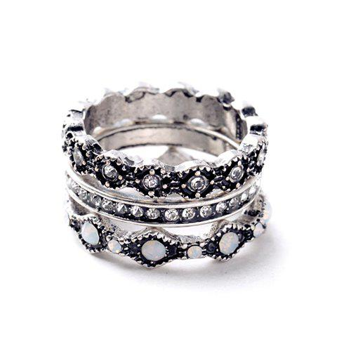 Trendy 3PCS Chic Rhinestone Round Rings For Women SILVER ONE-SIZE