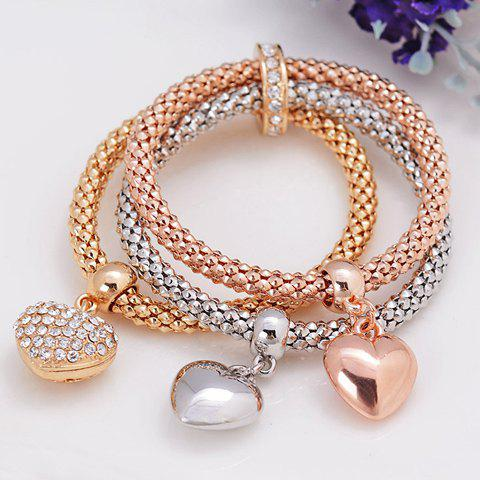 New Rhinestone Heart Layered Bracelet GOLDEN