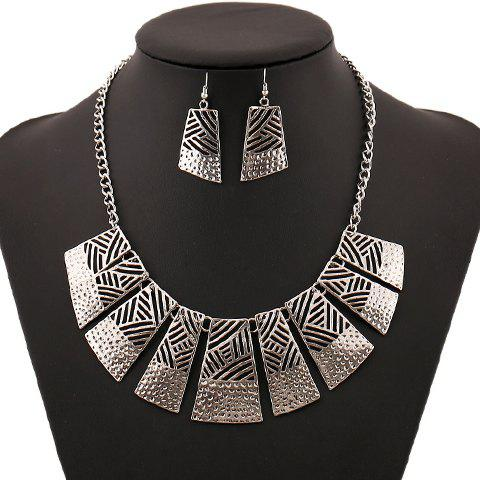 Discount Retro Hollow Out Geometric Women's Necklace and A Pair of Earrings SILVER