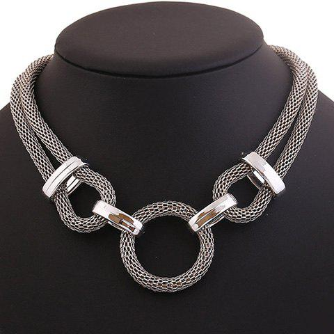 Sale Stylish Chunky Round Pendant Necklace SILVER