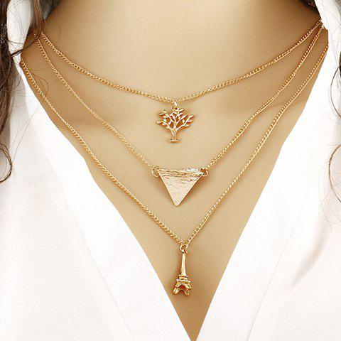 Trendy Triangle Life Tree Tower Pendant Necklace
