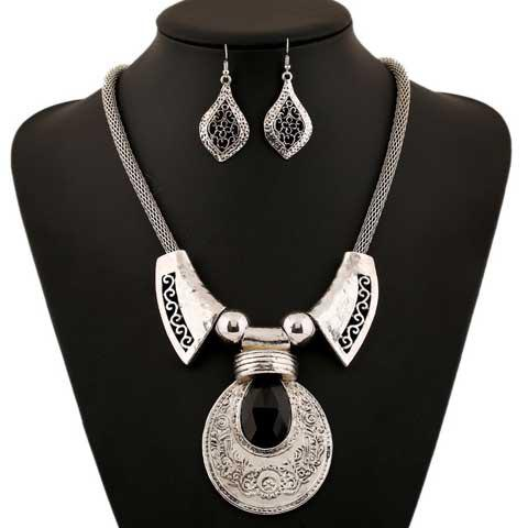 Latest A Suit Classic Faux Gem Printed Drop Necklace And Earrings For Women