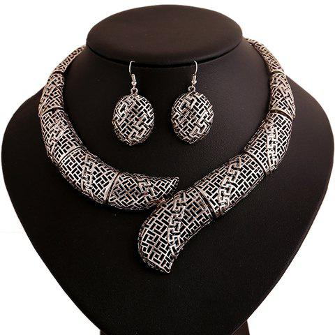 Best Vintage Hollow Out Women's Necklace and A Pair of Earrings SILVER