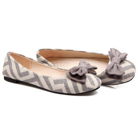 Fancy Sweet Zig Zag and Bowknot Design Women's Flat Shoes - 39 GRAY Mobile