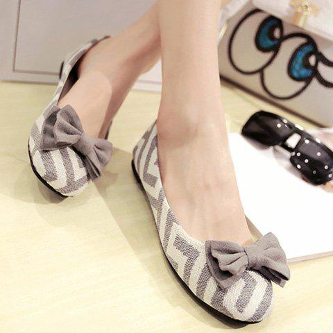 Outfit Sweet Zig Zag and Bowknot Design Women's Flat Shoes - 39 GRAY Mobile
