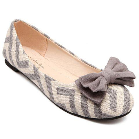 Cheap Sweet Zig Zag and Bowknot Design Women's Flat Shoes GRAY 39