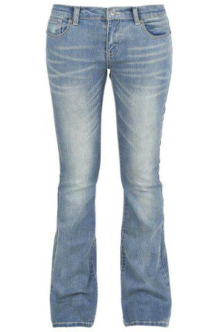 Buy Simple Mid-Waisted Zipper Fly Pocket Design Women's Jeans