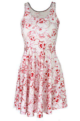 New Sweet Pink Skull Printed Pleated Elastic Dress For Women