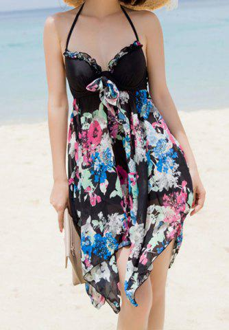 Discount Stylish Halter Sleeveless Printed Asymmetrical Women's Swimsuit