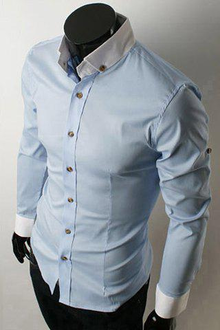 Fancy Fashion Shirt Collar Color Block Splicing Slimming Long Sleeve Polyester Button-Down Shirt For Men