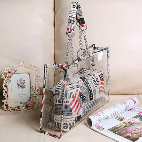 Latest Stylish Transparent and Splice Design Women's Tote Bag - GRAY  Mobile