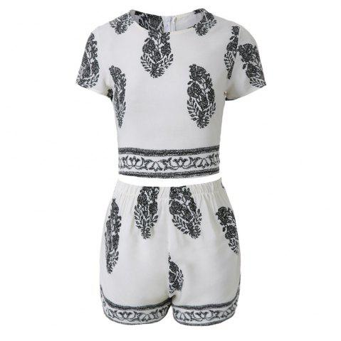 Discount Stylish Jewel Neck Short Sleeve Print Suit For Women - S WHITE Mobile