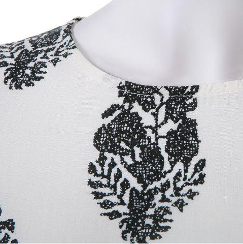 Cheap Stylish Jewel Neck Short Sleeve Print Suit For Women - S WHITE Mobile