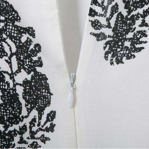 Outfit Stylish Jewel Neck Short Sleeve Print Suit For Women - S WHITE Mobile