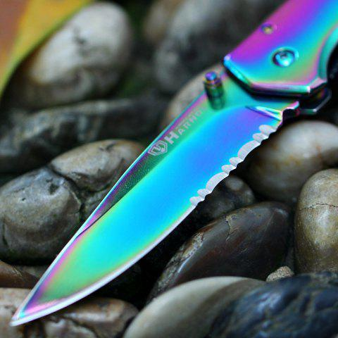 Sale HARNDS CK6014A Portable Colorful Stainless Steel Folding Knife Key Ring Liner Locking Function -   Mobile