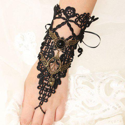 Vintage Lace Wing Flower Heart Women's Bracelet - Black - L