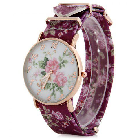 Floral Pattern Leather Band Women Quartz Watch - Purple