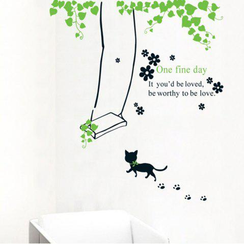 Sale Cat Swinging PVC Removable Wall Art Decal Sticker