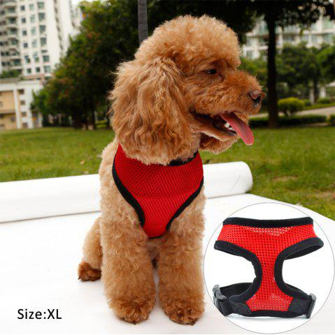 Adjustable Dog Collar Leads Chest Harness Strap Pet Puppy Cat Mesh Vest - Red - Xl