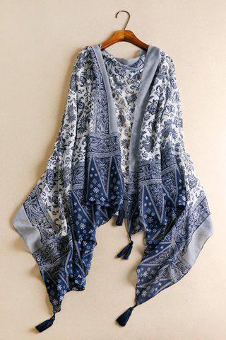Shops Chic Tassels Embellished Ethnic Printed Multifunctional Pashmina For Women CADETBLUE