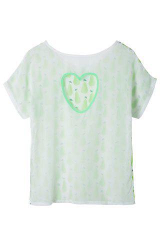 New Casual Style Scoop Neck Short Sleeve Pear Print Women's T-Shirt