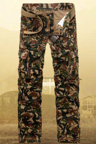 New Camouflage Straight Leg Zipper Fly Multi-Pocket Sutures Loose Fit Military Style Men's Long Cargo Pants