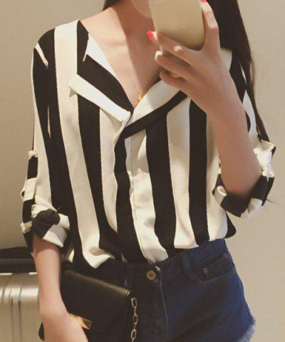 Hot Stylish Turn-Down Collar Long Sleeve Vertical Striped Loose-Fitting Blouse For Women