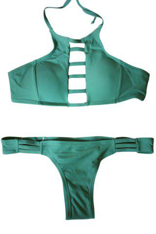 Fancy Sexy Style Spaghetti Strap Tie-Up Hollow Out Bikini Set For Women GREEN S