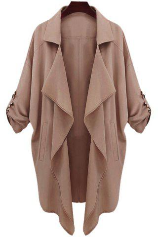 Large CAMEL Lapel Neck Long Sleeve Solid Color Trench Coat