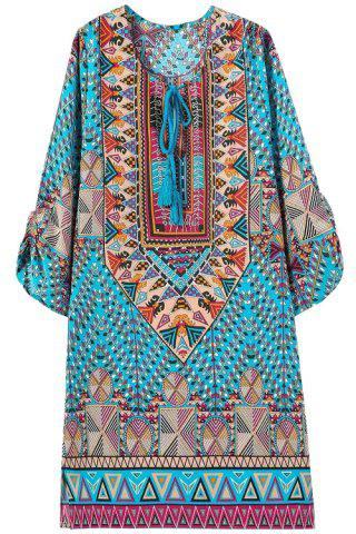 Ethnic Style Jewel Neck Floral Geometric Print 3/4 Sleeve Dress For Women - WATER BLUE S