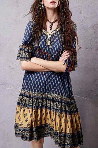 Best Stylish V Neck Half Sleeve Ethnic Print Women's Dress