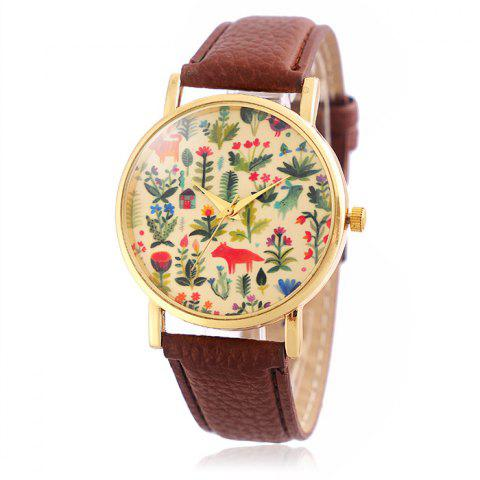 Latest Jijia SG1251 Golden Case Women Quartz Watch with Leather Strap Flower and Animal Face
