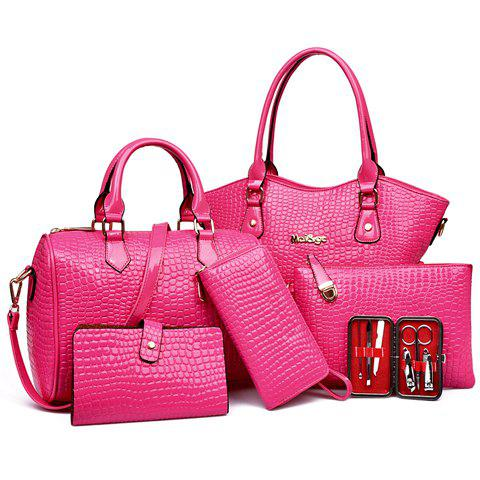 Discount Embossed Tote Handbag 6Pc Set