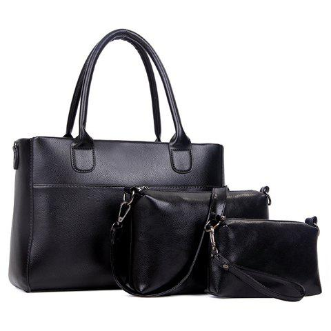 Affordable Concise Zip and Solid Color Design Women's Tote Bag BLACK